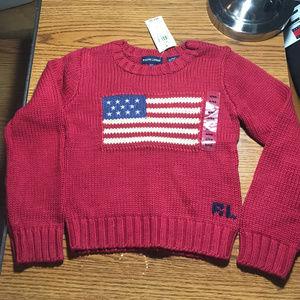 Ralph Lauren red flag sweater 6/6X NWT
